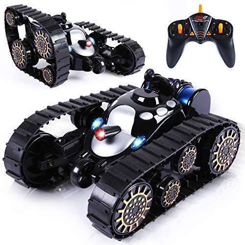 SGILE Panzer Spielzeug RC Tank mit LED Leuchten und Musik, Fernbedienung Stunt Tank 360°Flip Kindergeschenk