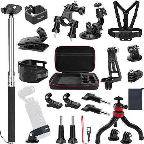 SKYREAT 25 in-1 Erweiterungs Zubehör Kit für DJI Osmo Pocket Handheld Kamera-Halterungen Inklusive Tragetasche Rucksackgurt Selfie Stick Stativhalter für Osmo Pocket