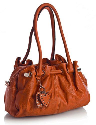 Big Handbag Shop Sac à main pour femme Poches multiples et charms en forme de cœur Taille M