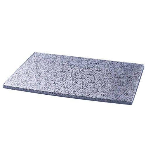 Cake Company Torten-Platte in Silber | 1 Stück | 34 x 24cm groß | 1cm flach | Stabile rechteckige Kuchen-Platten | Alu-kaschierte Pappe | Servier-Platte vier-eckig zum Dekorieren & Transport
