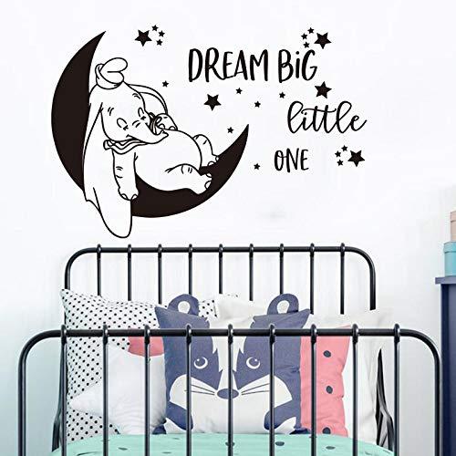 hetingyue Moon Star Dreams Adesivi murali Scuola Materna Camerette per Bambini Elefante Ispirazione Citazioni Vinile Adesivo Decorazione 56x38cm