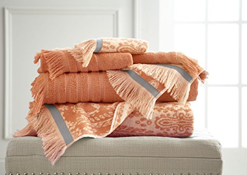 428fbaaafb Pacific Coast Textiles Jaipur filato tinto asciugamano, corallo, pezzi