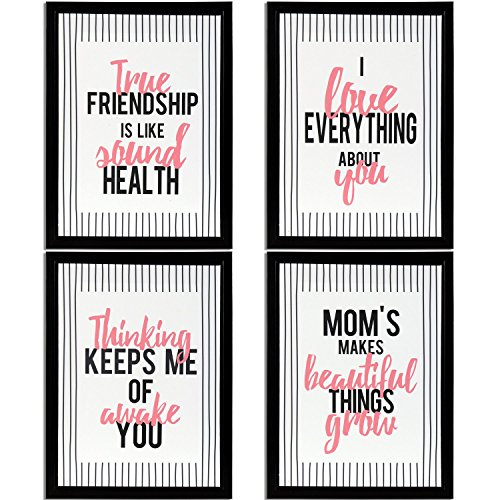 DonRegaloWeb - Cuadro - Set de 4 cuadros de madera decorados con frases de mom, friendship