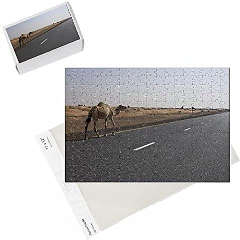 Photo Jigsaw Puzzle of Lone camel walking along a road through the desert near Dubai, United Arab