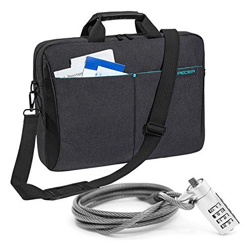 """PEDEA """"Lifestyle"""" Notebooktasche für 15,6 Zoll (39,6cm) mit Zubehörfach/Schultergurt mit Notebookschloss, schwarz"""