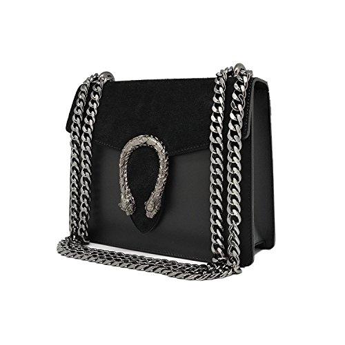 RONDA Borsa pochette a spalla tracola catena e accessori in metallo pelle liscia e pattina camoscio Made in Italy nero mini