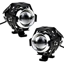 justech 2pcs 125W faro LED moto faro adicional delantero moto luces anti niebla proyector Spotlight 3000LM U5etanche para moto quad Scooter Harley- con interruptor on off de fuegos