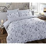 Juego de cama con funda de edredón con funda de almohada, de Cotton Dynamics, de franela, 100 % algodón cepillado