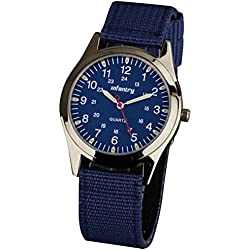 INFANTRY® Mens Analogue Quartz Wrist Watch Lume Army Sport Blue Dial Nylon Fabric Strap