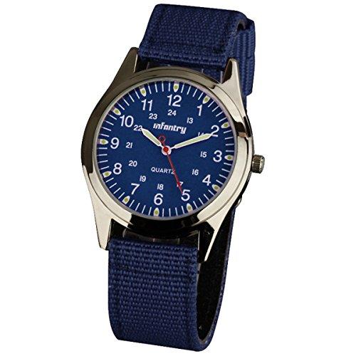 INFANTRY® Herren Analoges Quarzwerk Armbanduhr Sportuhr Outdoor Militär Marine Blau Nylon Armband