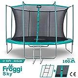 FROGGI Trampoline d'extérieur Sky - 305cm Norme CE - Structure Garantie 5 Ans Charge Max : 150 kg
