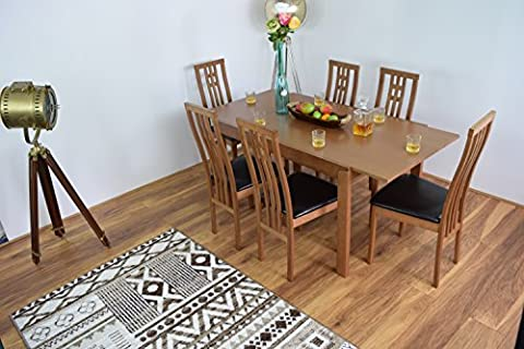 Extending Honey Oak Dining-room Table and 6 Chairs Solid Wood Dinner Set Cambridge- EXTENDABLE-MODERN-WOODEN,DINNER TABLES SETS (6 CHAIRS)