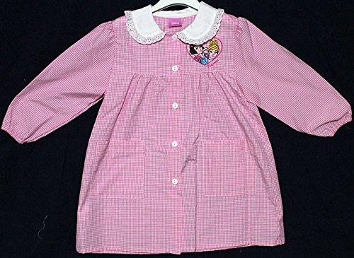 Grembiule scuola materna asilo, quadretti bianchi rosa disney principesse - taglia grembiule 55 - altezza 104 cm - 4 anni
