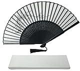 Ink Art Ventilateur de Main avec Une Boîte et Un étui pour Femme Homme Filles Noir et Blanc avec Argent Touch Up Durable Pliant à la Main Fan Tissu de Soie
