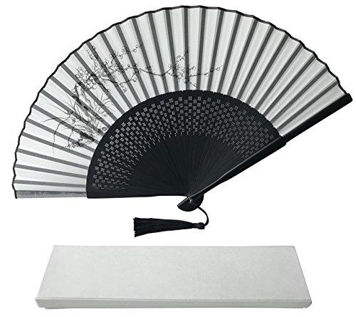 Tinte Art Handheld Fan mit Einem Box und Eine Tasche für Damen Herren Mädchen Schwarz und Weiß mit Silber Touch bis Durable Falten Hand Fan Seide Stoff Sakura Flowers Ia05
