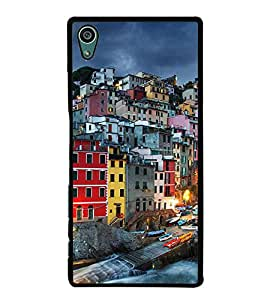 Fuson Premium 2D Back Case Cover Bulidings with red Background Degined for Sony Xperia Z5 Compact::Sony Xperia Z5 Mini