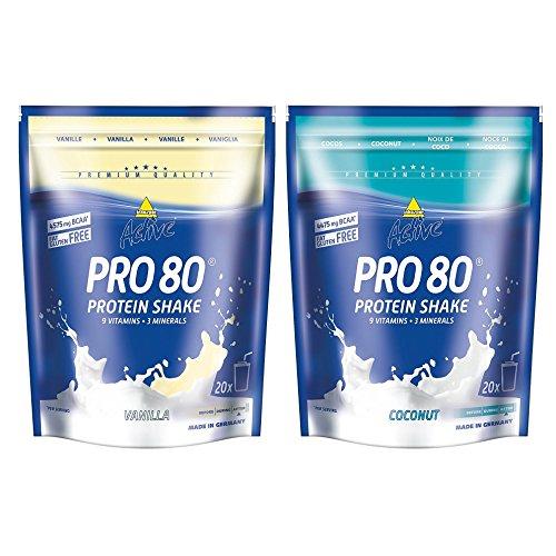 Inko Active Pro 80 Proteinshake 2 Beutel (2 x 500g = 1kg) Cocos & Vanille