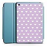 Apple iPad Mini 4 Smart Case hellblau Hülle Tasche mit Ständer Smart Cover Herzchen Flieder Polka