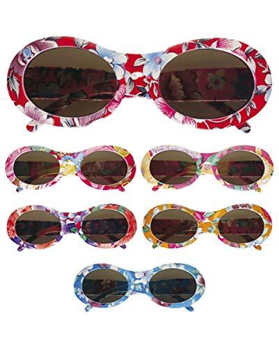 Horror-Shop Geblümte Hippie Sonnenbrille