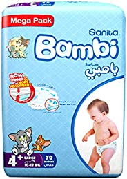 Sanita Bambi Size 4+, Large+, 10-18 kg, Mega Pack - 78 Count