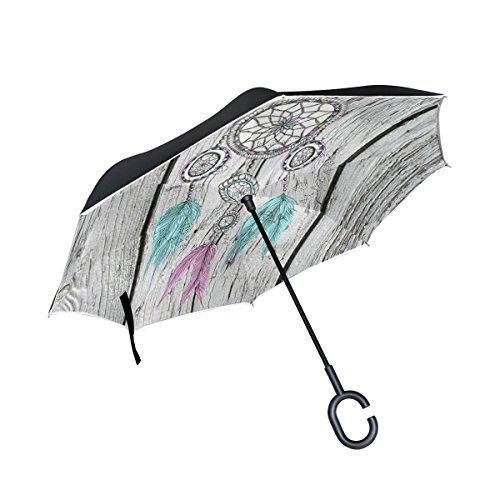 jstel doble capa invertida Atrapasueños Junta paraguas coches Reverse resistente al viento lluvia paraguas para coche al aire libre con asa en forma de C