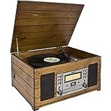 Karcher Nostalgie Musikcenter NO-038, Kompaktanlage mit Plattenspieler, CD-Player, Kassettendeck und Radio