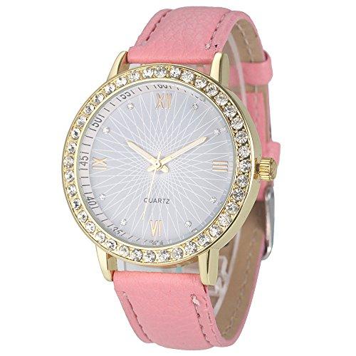 winwintom Diamant Analog Leder Quarz Armbanduhr Pink Herren Bulova Gold Diamant Uhr