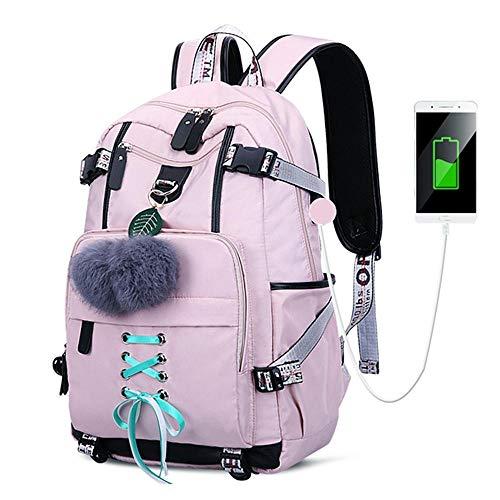 GY-HHHH Literarischer Retro-Leichter spritzwassergeschützter Rucksack - praktischer Outdoor-Sportrucksack mit USB-Stereoanlage, Handtasche-Pink
