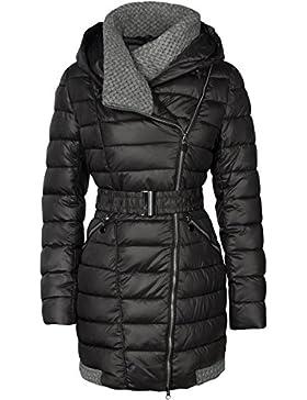Abrigo largo acolchado de invierno con cuello amplio para mujer