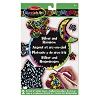 Melissa & Doug Scratch Art Silver and Rainbow Stickers, Includes 20 Stickers