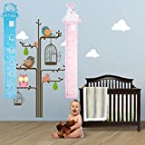 Nuevo oso/Rabit diseño de Baby Boy y niña de Gráfico de crecimiento portátil enrollable/colgar Medidor de altura Medidas para niños 50cm–140cm/4–6inches