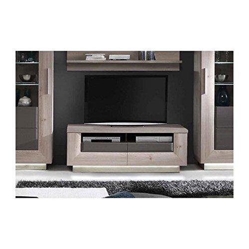 STAIRS Meuble TV 140 cm - Décor chene nelson et gris