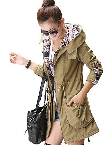 MissFox Femmes Long Manteau Capuche Trench Parka Coat 316e0d980f1
