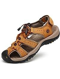 Uomini Traspiranti Sandali in Pelle Scarpe Chiuse Scarpe comode per Le Scarpe  da Spiaggia 96b6e0777f4