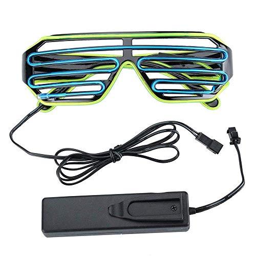 Bicolor Wire Leuchten Leuchtbrille Shade Brille Fun LED Shutter Konzert Soundsteuerung Box Blau + Hellgrün Packung mit 2 (Der Leuchtende Jack Kostüm)