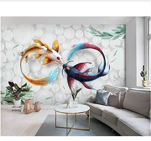 Fototapete 3D Vliestapete Handgemalte Moderne Stilvolle Aquarell Koi Fish Fresco Tv Hintergrund 300 Cm × 200 Cm