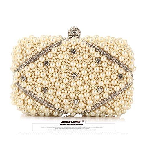 JESSIEKERVIN Perlen Clutch Geldbörse Mondschein Blume Flut Tasche Handtasche Stickerei Craft Abend Party Tasche (Color : Apricot) - Clutch Bag Apricot