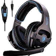 SADES SA810 3.5mm Multi-Platform Cuffie Gaming, Cuffie da Gioco Con Microfono Controllo del Volume Noise Cancelling Per New Xbox uno/PS4/PC/Laptop/Mac/iPad/iPod(Nero/Blu)