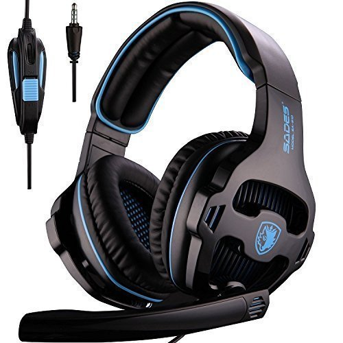 SADES SA810 New Updated 3.5mm Multi-Platform Stereo Sound PC Gaming Headset, Over-ear Gaming Headphones with Mic for New Xbox one/PS4/PC Laptop/Mac/iPad/iPod(Black&Blue)