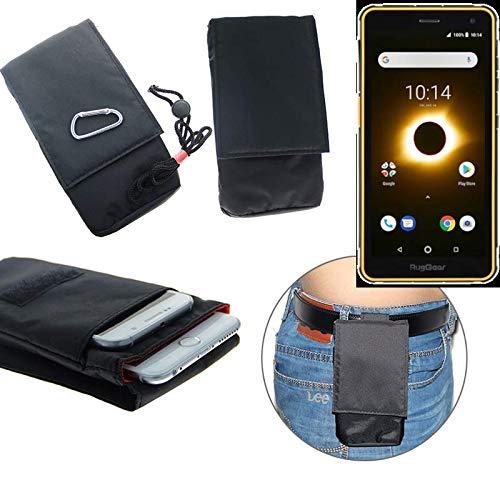 K-S-Trade® Gürteltasche Ruggear RG650 Brusttasche Brustbeutel Schutz Hülle Smartphone Case Handy Schwarz Travel Bag Travel-Case Vertikal