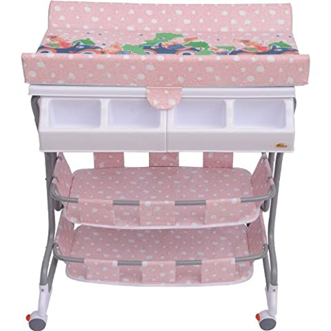 Homcom Baby Changing Table Unit Changing Station Storage Trays and Bath with Tub Pink New