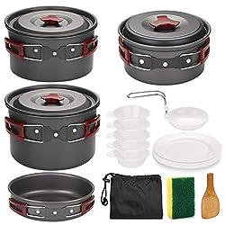 Odoland Camping Kochgeschirr-Set 14-teiliges Töpfen aus Aluminium u. Edelstahl Leicht und faltbare Kochausrüstung für Camping Wandern Picknick BBQ