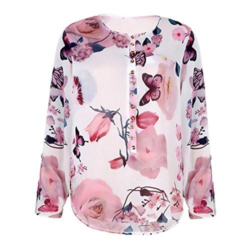 SEWORLD 2018 Damen Mode Sommer Herbst Beiläufige Blumen Bedruckte Knopf T-Shirt Chiffon Unregelmäßige Hem Top Bluse(Weiß,EU-48/CN-4XL)