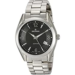 GROVANA 1566.1137 Men's Quartz Swiss Watch with Black Dial Analogue Display and Silver Stainless Steel Bracelet