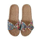 Damen Pantoletten Sommer Schuhe Fujimori Pantoffeln Blumen Slippers Leinen Flache Hausschuhe Hausschuhe Strand Komfort Sandalen Hausschuhe mit Rutschfest Weiche Sohle