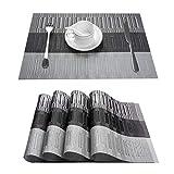 TOP Marques Collectibles Top Finel 8er Set Umweltfreundlich PVC Tischset - abwaschbar Platzset Platzmatten für Dekoration und Küche, 30 x 45 cm,Grau und Schwarz