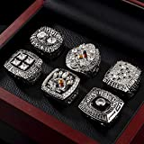 MDDCER 6PCS Pittsburgh Steelers 1974/1975/1978/1979/2005/2008 Champion Ring Set Collection Souvenirs Rugby Champions Souvenir Bijou Bague