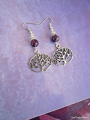 Boucles d'oreilles avec amethyst perles arbre de la vie celtique bijoux fait main