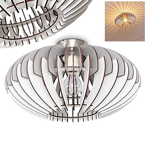 Holz Deckenleuchte Caldera aus Holz in Weiß/Braun - Runde Zimmerlampe aus dünnen Holzplatten - extravagantes Design - E27-Fassung mit 60 Watt - Mit Sockel in Nickel-matt - Wohnzimmerlampe - Esszimmer