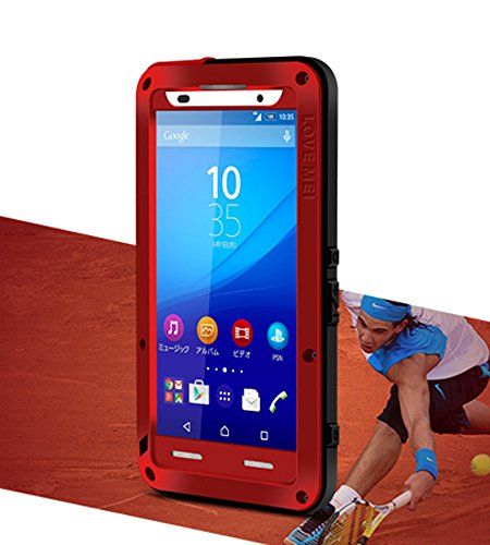 Spritz Wasserdichte Schutzhülle für Sony Xperia Z4, Love Mei Marke Aluminium Material mit Gorilla Glas Display Cover (Rot) rot